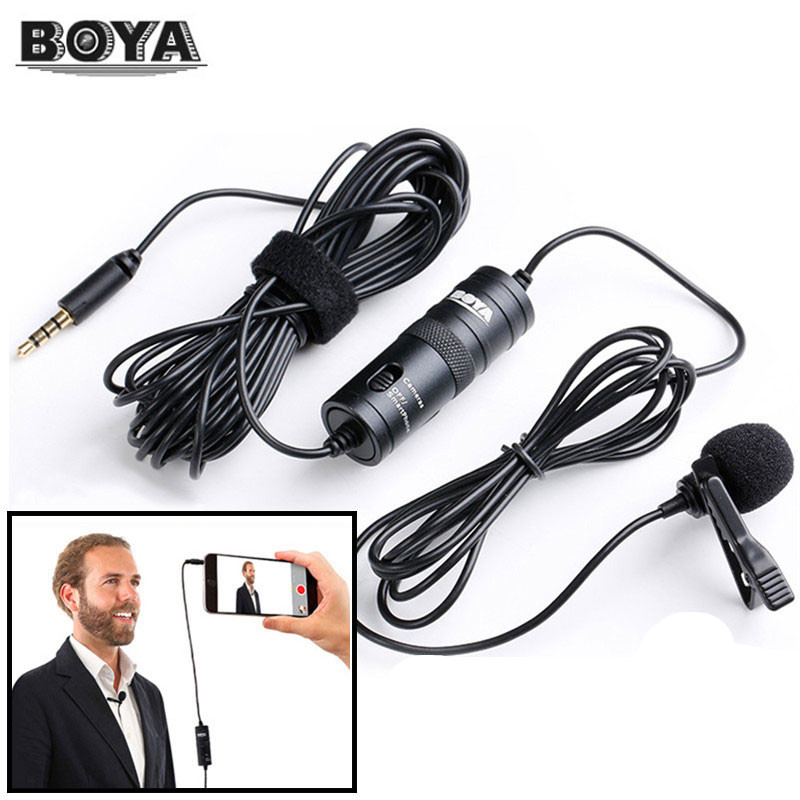 BOYA BY-M1 Cravate Microphone Microfone 6 m Cravate Stéréo Audio Enregistreur Interview Clip Mic Pour Nikon Canon DSLR iPhone 6 s X
