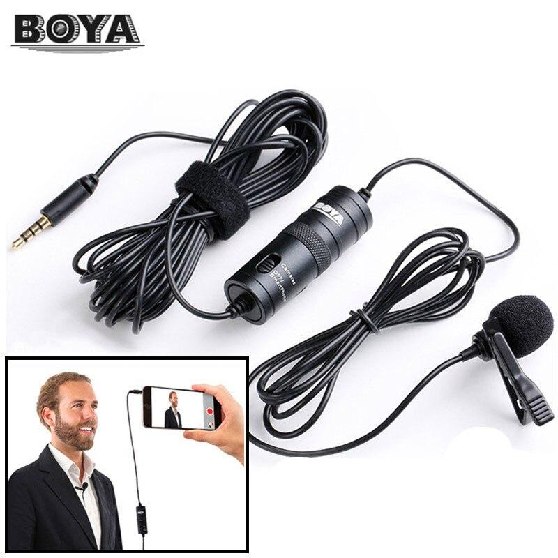 BOYA BY-M1 Cravate Microphone Microfone 6 m Cravate Stéréo Audio Enregistreur Interview Clip Mic Pour Nikon Canon DSLR iPhone 6 s X