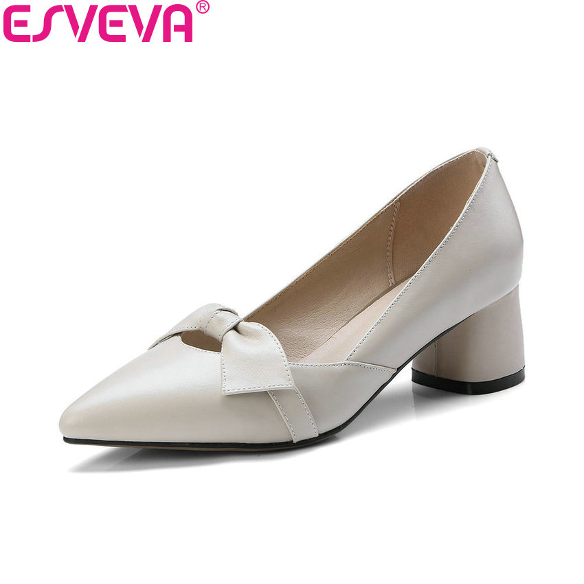 ESVEVA 2018 Women Pumps Cow Leather PU Square Heel Spring and Autumn Slip on Pointed Toe High Heels Pumps Women Shoes Size 34-39 esveva 2017 new pointed toe pu women pumps lace up british style fashion shoes women spring square high heel pumps size 34 39