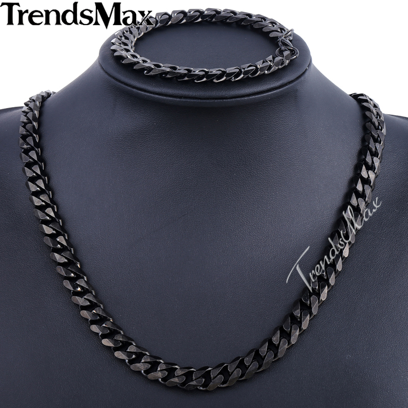 Trendsmax Brand Jewelry Set 11mm Gold/Black Color Men Chain Stainless Steel Necklace Bracelet Curb Link Fashion Hot KS201 KS203 emanco stainless steel jewelry femme rose gold color link chain necklace with cute pendants simple brand design fashion jewelry