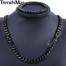 Trendsmax Brand Jewelry Set 11mm Gold/Black Color Men Chain Stainless Steel Necklace Bracelet Curb Link Fashion Hot KS201 KS203(Hong Kong,China)