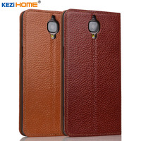 Case For OnePlus 3 3T KEZiHOME Genuine Leather Flip Stand Leather Cover For OnePlus 3 3T