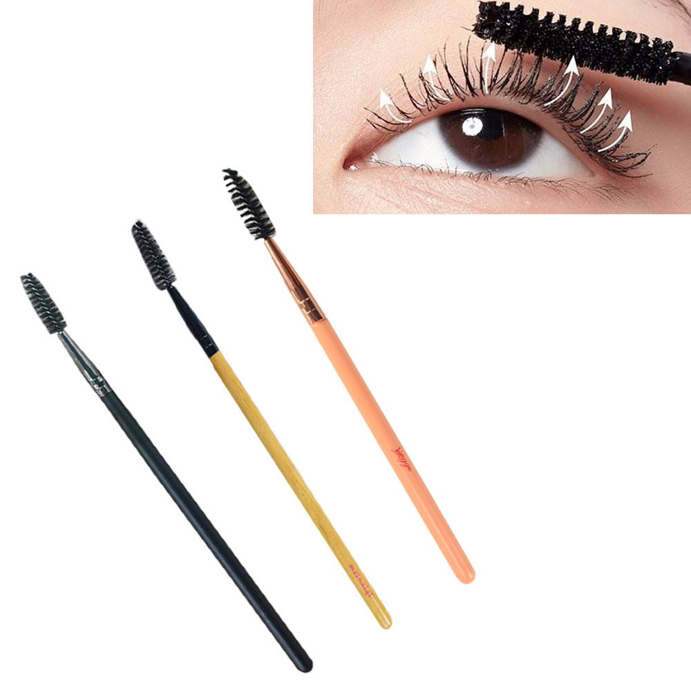 1PCS Soft Beauty Makeup Brush Eyelash Brush Mascara Applicator Wood Handle Eyelash Cosmetic Makeup Beauty Tool kit Wholesale