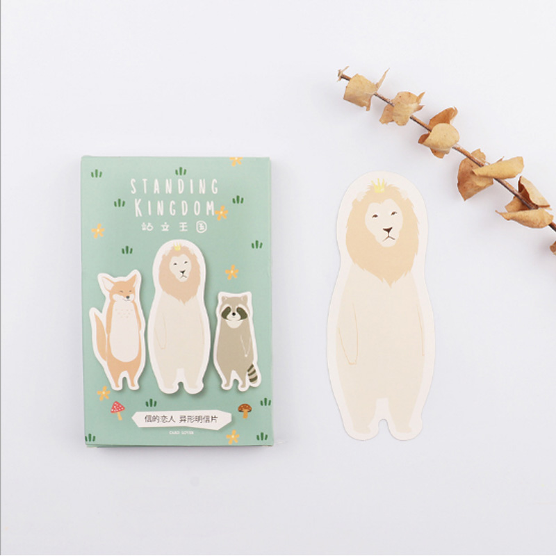 30 pcs/pack Kawaii Standing King personality Greeting Card Postcard Birthday Letter Envelope Gift Card Set Message Card 30 pcs pack colorful floating feather shape greeting card postcard birthday gift card set message card