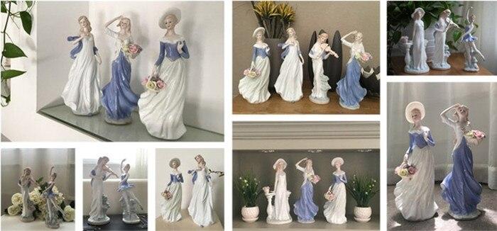 Fait à la main en céramique fine élégante western femelle personnages miniatures ornements exquis moderne décorations pour la maison - 3