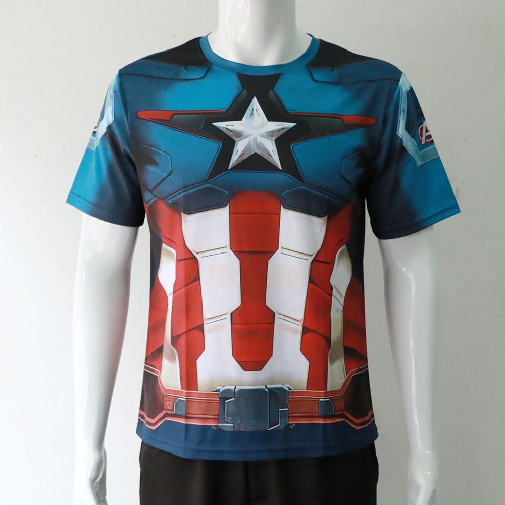 2016 Marvel Captain AmericaT-Shirts Civil War T-shirts Superhero Black Panther Cosplay T-Shirts Costume