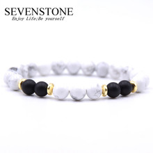 SEVENSTONE 8MM Pop Jewelry Couple Bracelet Natural Stone Gold Alloy Bracelet for Men and Women To Send Gift Bags natural quality goods color ice stone bracelet send certificates send jewelry box