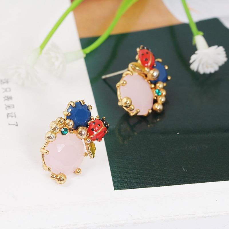 Enamel Glaze Seven Star Ladybug Blue Diamond Powder Spar Jewel Ear Nail Earring 925 Silver Needle Defence Allergy Woman