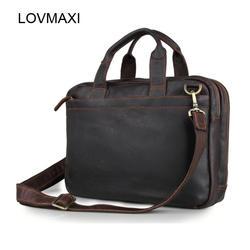 Lovmaxi Новинка 2017 года Для мужчин Натуральная масло кожаные сумки, мужской портфель для ноутбука сумки Человек Корова кожа сумки на ремне