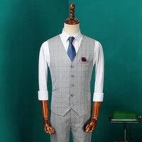 Men Clothing Luxury Vest Men Suit Vest Gray Plaid Blazers Waistcoat Vintage Wool Sleeveless Jacket British Suits Vests CBMJ028