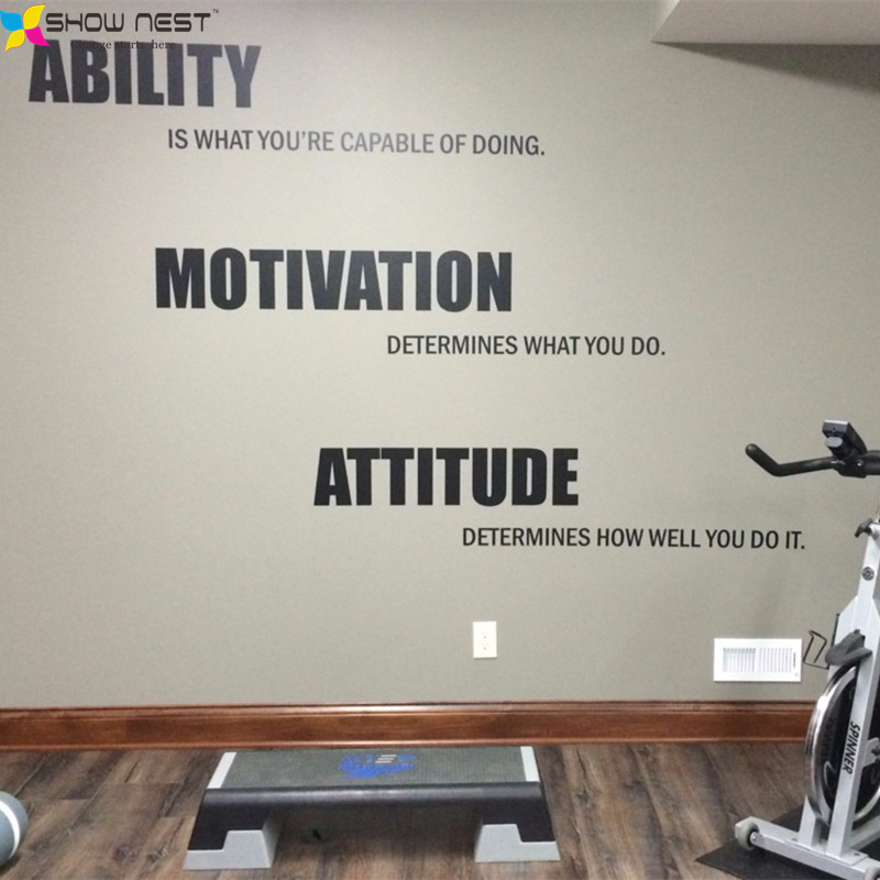 Gym Motivational Quote Wall Decal Vinyl Stickers Ability Motivation Attitude Gym Wall Art Decor Fitness Wallpaper  Mural-in Wall Stickers from Home ... & Gym Motivational Quote Wall Decal Vinyl Stickers Ability Motivation ...