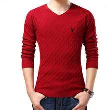 Winter new men v-neck sweater han edition cultivate one's morality youth knit sweater and thicken the chicken
