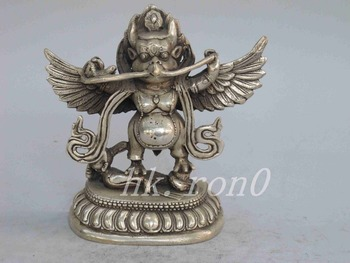 Exquisite Chinese Collectible Decorated Old Handwork Tibetan Silver Son of Thor Statue