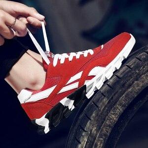 Image 5 - בתוספת גודל 49 למבוגרים לערבב צבע גברים לנשימה נעליים יומיומיות גל להב תחתונה עיסוי בלעדי גברים קיץ נעלי רשת אדום 15