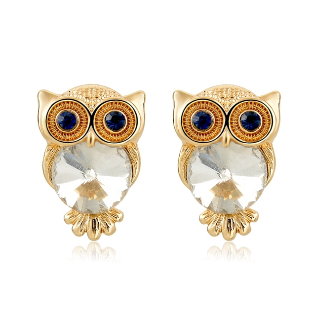 Vintage Rhinestone Owl Earrings For Women Small Gold Stud Famous Brand Jewelry Penntes Mujer Brincos