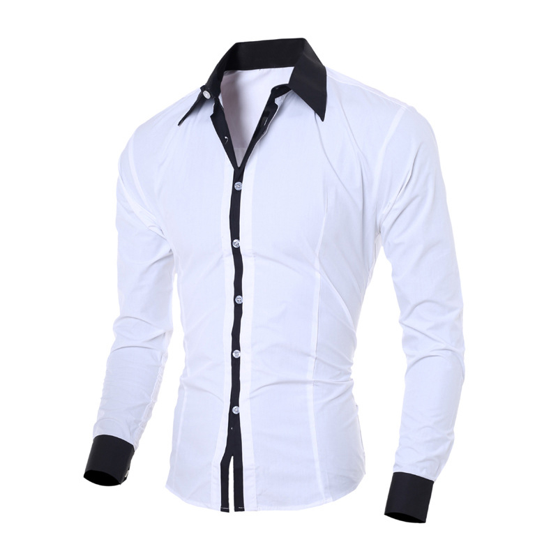 Men Long Sleeves Shirt Turn-down Collar Slim Fit Loose Casual Shirt Male Cotton Tops -MX8