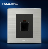 Free Shipping POLO Luxury Wall Light Switch Panel Touch Delay Switch Champagne Black Electric Socket 10A