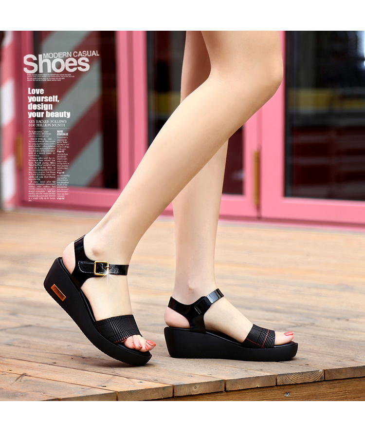 Sandals Female Summer Flat 2019 New Wild With High Heel Wedges Comfortable Non-slip Soft Bottom Pregnant Women Mother Shoes 59