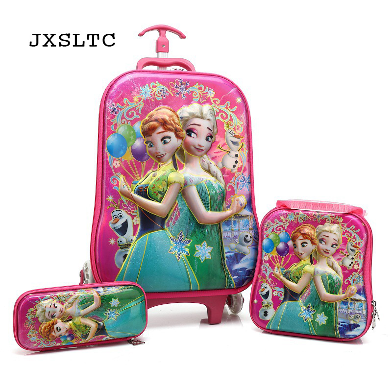 JXSLTC 2018 Children Travel Trolley Bag Student Trolley Case Cute Kids Suitcase Boy Girl Cartoon Bag Pencil Box Children Gift