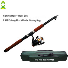 JSM 2.4m Spinning Rod and Reel Combos Fishing Carrier Bag Case Portable Telescopic Fishing Rod and Reel Combo Sea Fishing