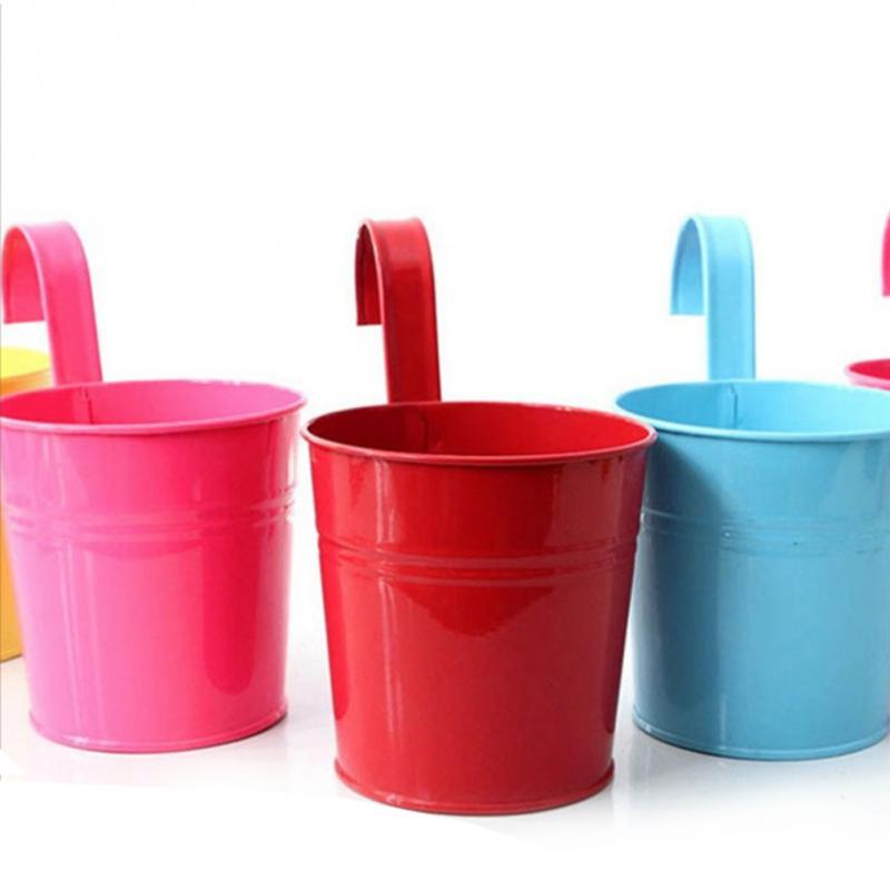 Новые 3 Цвета Висит Цветочный Горшок Крюк Настенные Горшки Ведро Железный Держатель Цветов Балкон