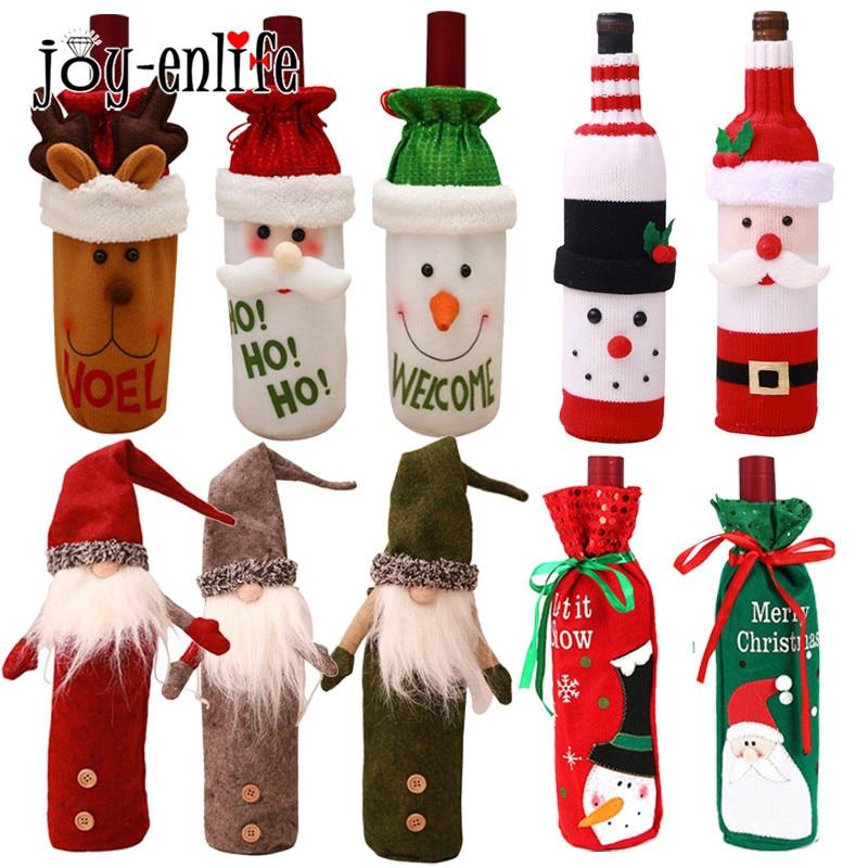 Christmas Decoration 2018 Santa Claus Wine Bottle Cover Gift Santa Sack Bottle Hold Bag Snowman Noel Xmas Decor Home Decoration