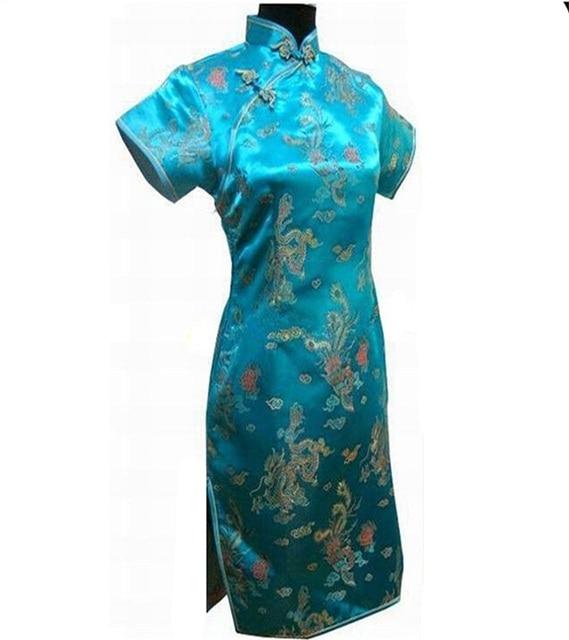 Light Blue Traditional Chinese Clothing Women s Satin Mini Cheongsam Qipao  Dress Plus Size S M L XL XXL XXXL 4XL 5XL 6XL J4062 285d92cc2ea4