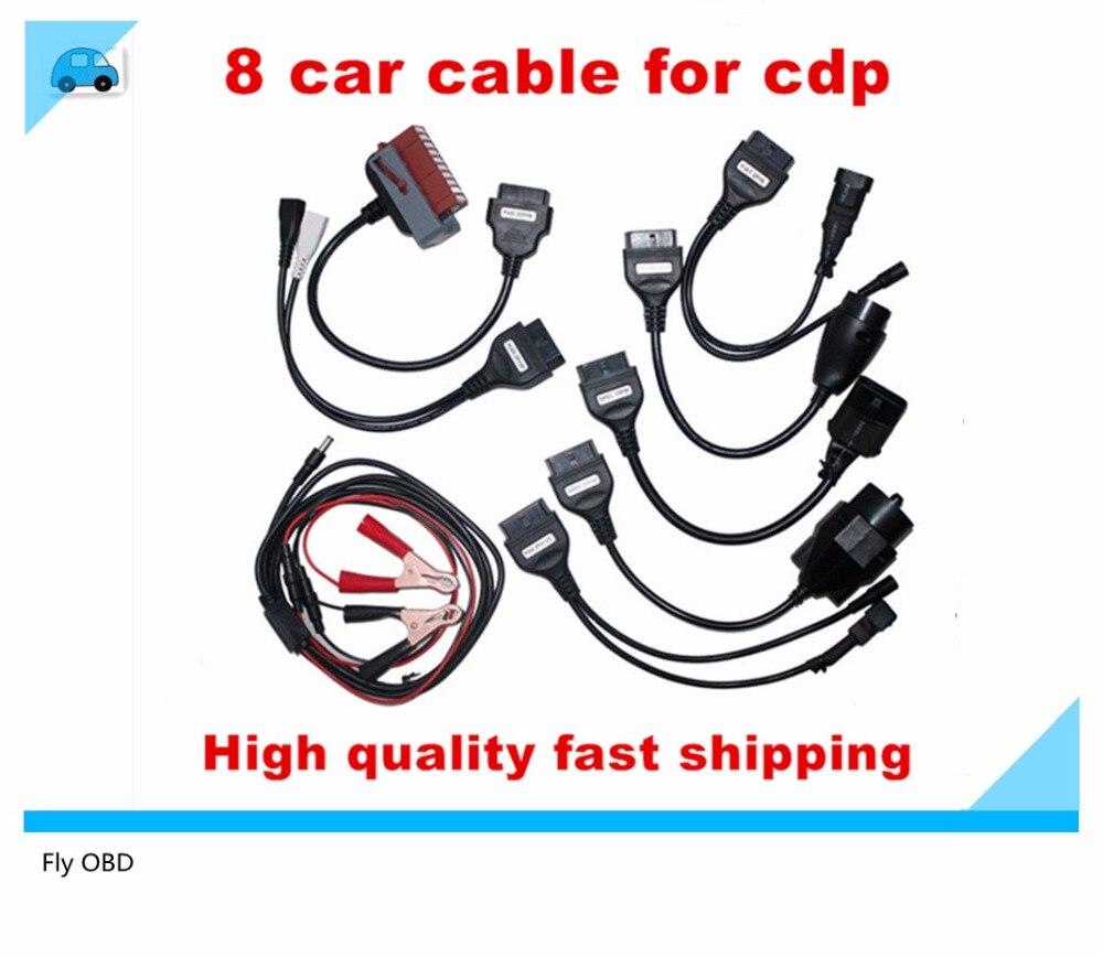 Prix pour Top OBD2 Câbles Pour TCS CDP Programmeur Voitures Câbles De Diagnostic Interface outil ensemble Complet 8 Câbles De Voiture Pour TCS CDP PRO Scanner