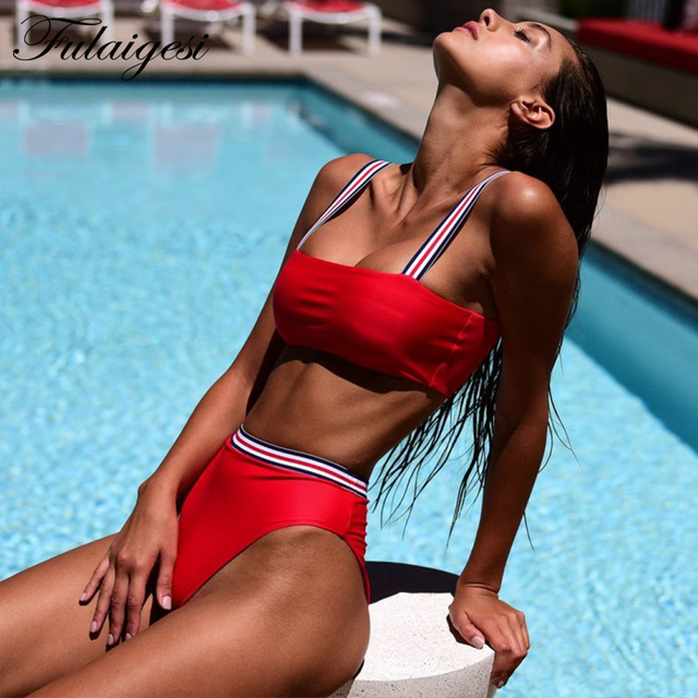 05ee6cee37e Fulaigesi Women Sport bikini set high waisted swimwear striped strap bandeau  push up swimsuit 2019 hot
