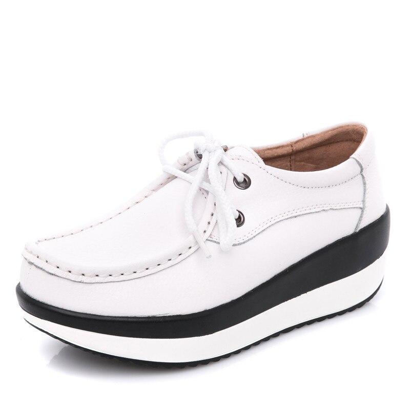 ec3285831003df PINSEN 2019 jesień kobiety płaskie mokasyny na platformie buty damskie  oryginalne skórzane Slip on buty w stylu casual kobieta mieszkania mokasyny  pnącza w ...