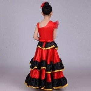 Image 5 - Crianças meninas vestido de dança do ventre vermelho espanhol flamenco traje de salão de baile vestido tribal com cabeça flor