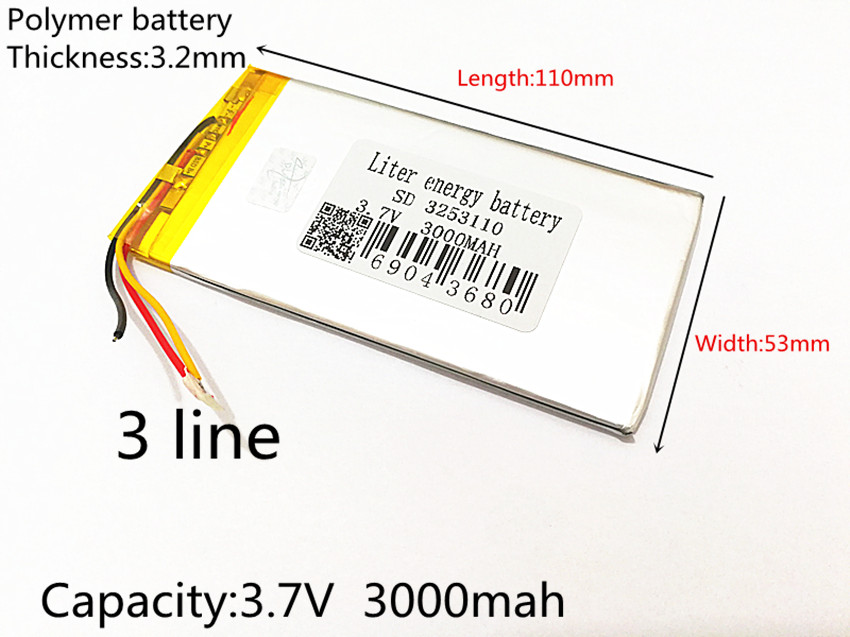 3253110 3-Wire 3.7V 3000mAh Rechargeable li-Polymer Li-ion Battery For china clone Goophone 5.5 6plus I6 6SPLUS phone