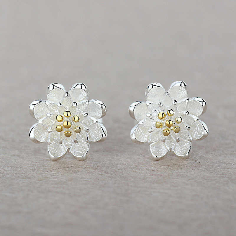 Giemi Beautiful Lotus Flower Fashion Pair 925 Sterling Silver Earring Accessories Nice Jewelery Gift Stud Earrings For Women