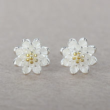 Boutique Lady Shining Flower Fashion 925 Sterling Silver Stud Earring Cartilage Piercing Earings Boho Jewelry Gift For Women(China)