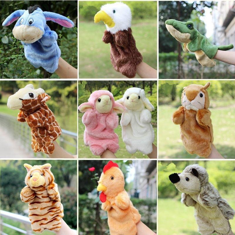 2016 El Kuklaları Oyuncak Ayı Kuş Koyun Pony At Aslan Bebek Kukla Fantoche Çocuk Eğitici Oyuncaklar Brinquedo Aile Oyuncaklar