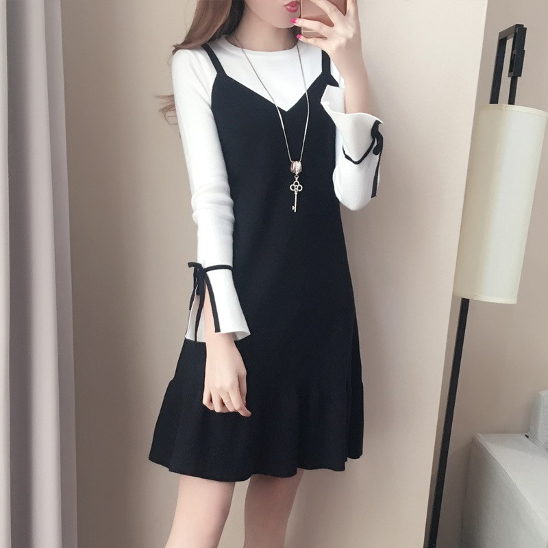 Girls Black And White Fake 2PCS Slimming Korean Mini Dress Spring Autumn Color Patchwork Casual Long Sleeve Dress
