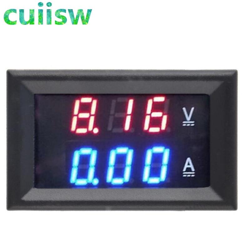 Вольтметр амперметр постоянного тока 0-100 в 10 а, красный + синий светодиодный амперметр, двойной цифровой вольтметр, светодиодный дисплей, ам...