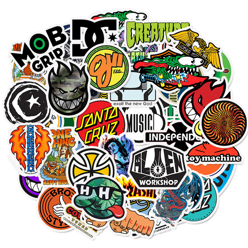 50pcs Skateboard Fashion Brand Logo Waterproof Sticker For Luggage Car Guaitar Skateboard Phone Laptop Bicycle Stickers