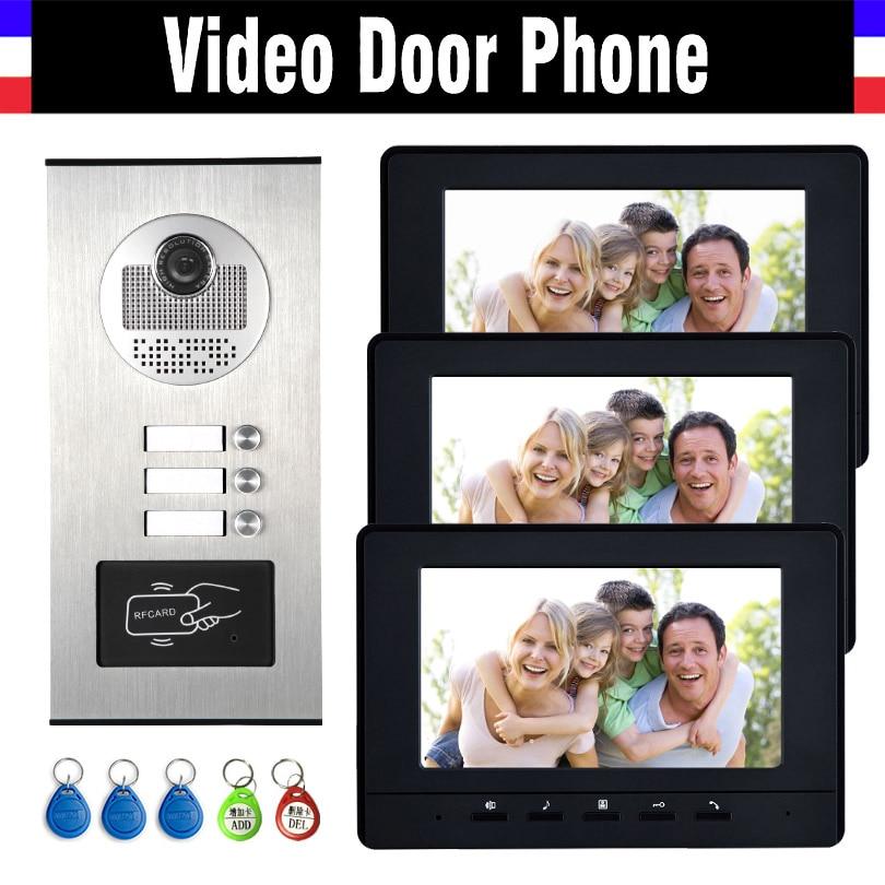 3 Units Apartment Intercom System Video Intercom Video Door Phone Kit HD Camera 7 Monitor with RFID keyfobs for 3 Household