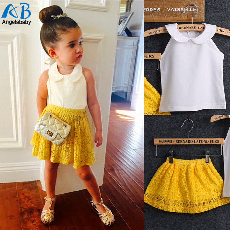 Toddler Baby Kids Girls Summer Lace Tops T-shirt+denim Jeans Pants Outfits Set Refreshing And Enriching The Saliva Clothing Sets