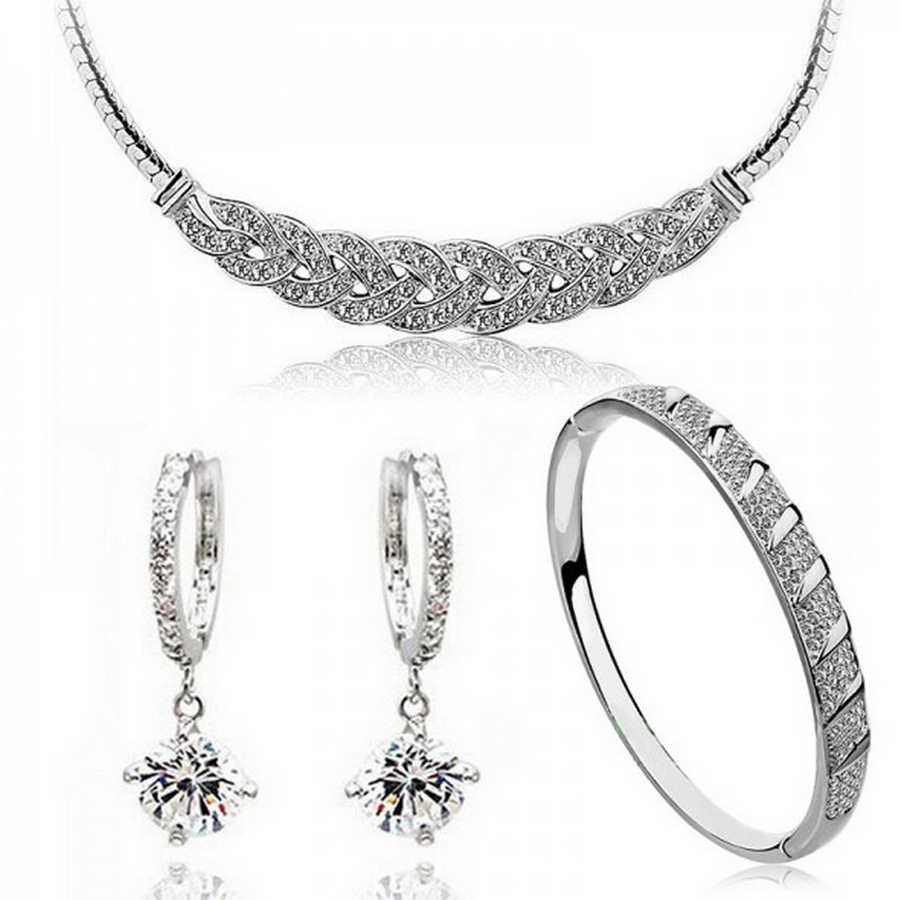 Austriacki kryształ 24 k złoty kolor zniekształcony wąż łańcuch ślubne zestawy biżuterii dla panien młodych