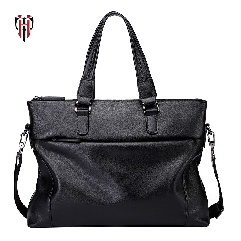 TIANHOO 15 inch laptop genuine leather messenger bag business litchi pattern handlebags males totes