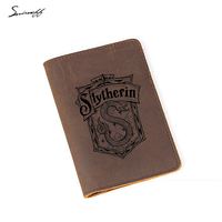 Engraved Slytherin Harry Potter Passport Holder Hogwarts School Boy Card Holder Leather Personalized Passport Cover