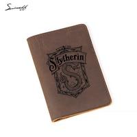 Engraved Slytherin Harry Potter Passport Holder Hogwarts School Boy Card Holder Leather Personalized Passport Cover