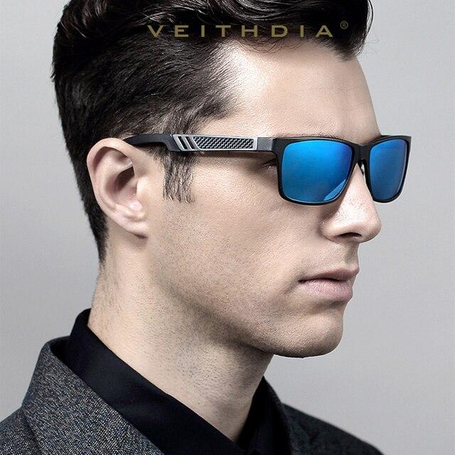 Marca Designer óculos Polarizados VEITHDIA Alumínio Quadrado Óculos De Sol  Dos Homens Óculos de Sol Óculos 1f34636b6d