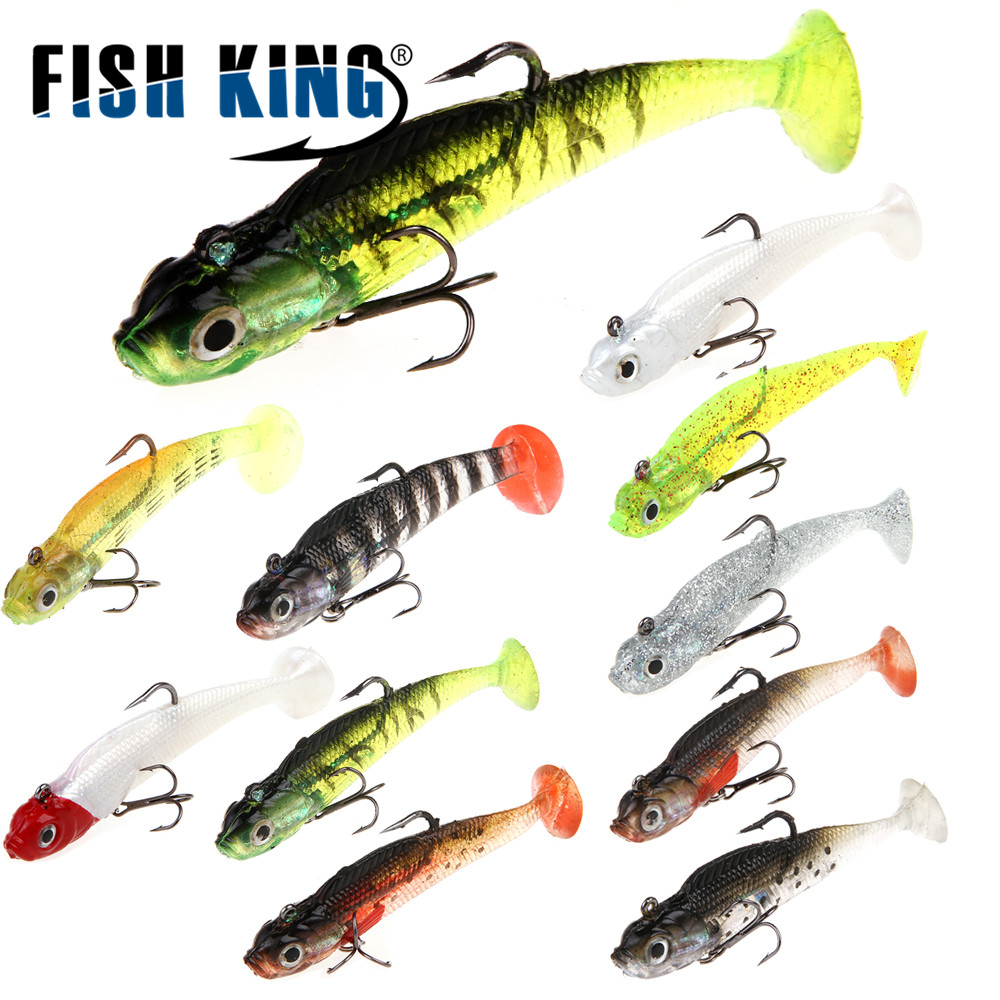 FISH KING 1PC 8/10CM 10 Color Soft Bait Jig Fishing Lure With Lead Head Fish Swimbait Treble Hook Fishhook Fishing Tackle 50pcs new wifreo soft lure loader locker connector fishing worm hook bait accessories for bass fishing wholesale