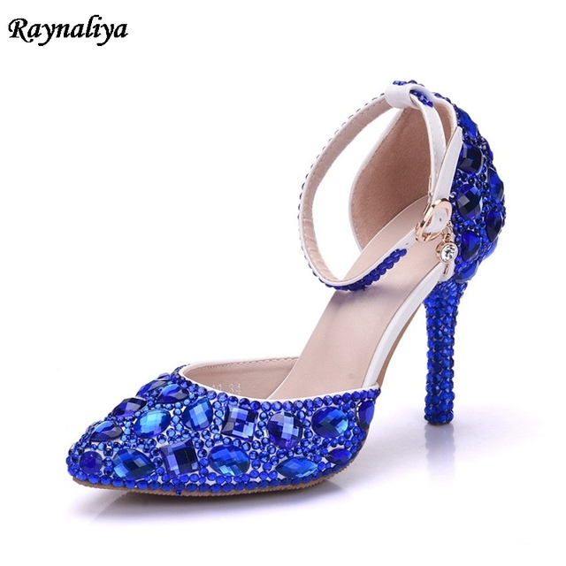 Lady High Heels Sandals Wedding Shoes Diamond Blue Crystal Shoes Woman  Wedding Photo Studio Wedding Dress Shoes XY-A0017 e28a9eed8a06