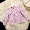 De cuero de gamuza de piel de oveja mujeres de la capa de cuero genuino del otoño del resorte capa rosada única chaqueta de cuero ahuecan hacia fuera el Nuevo Phoenix