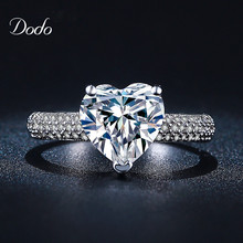 Heart shape white gold plated jewelry Ring antique CZ diamond crystal wedding band Engagement Rings for women girls bijoux DR048