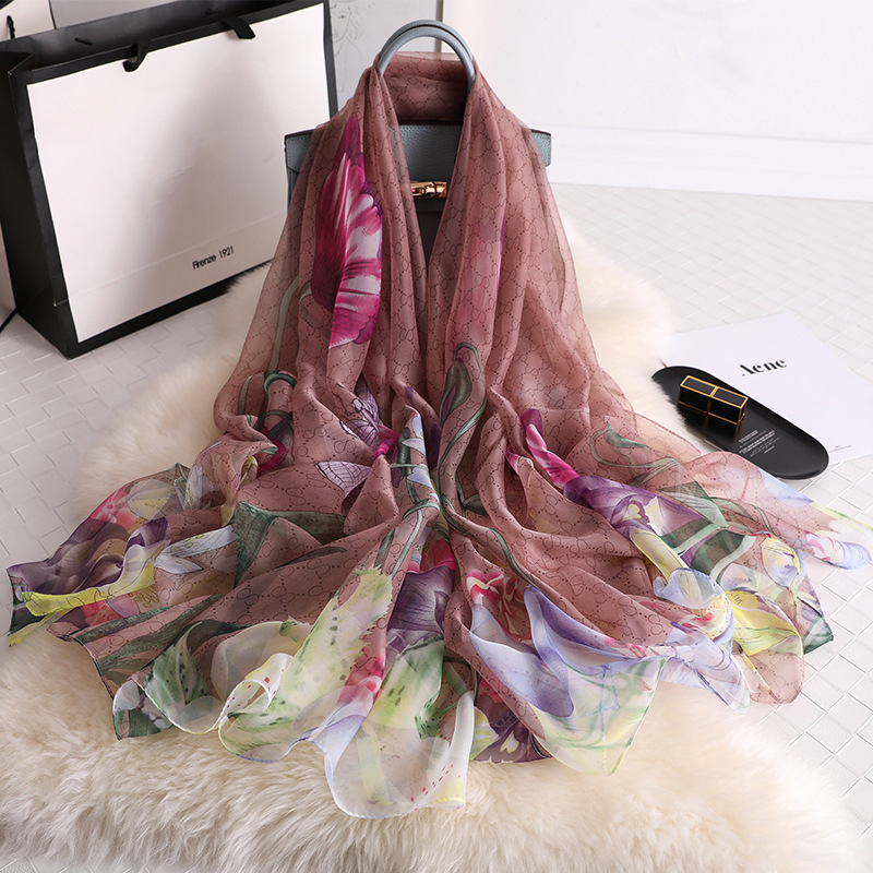 2019 summer   scarf   for women fashion print silk   scarves   lady pashmina shawls and   wraps   designer brand hijabs foulard
